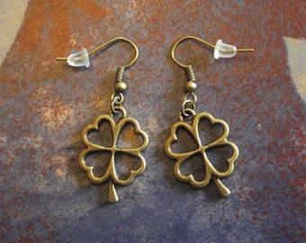 Bronze earrings - clover