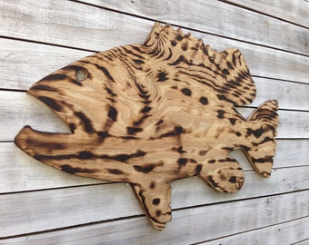 Birthday gift for him. Large Goliath Grouper Wooden Sign, Outdoor Fish Beach house decor, Wood Fish wall art. Housewarming gift idea.
