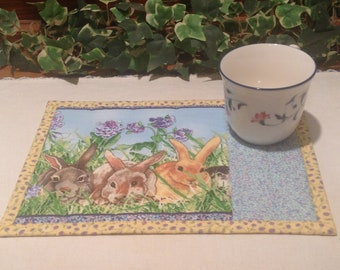 Quilted Mug Rug - Springtime Bunnies Snack Mat - Quiltsy Handmade