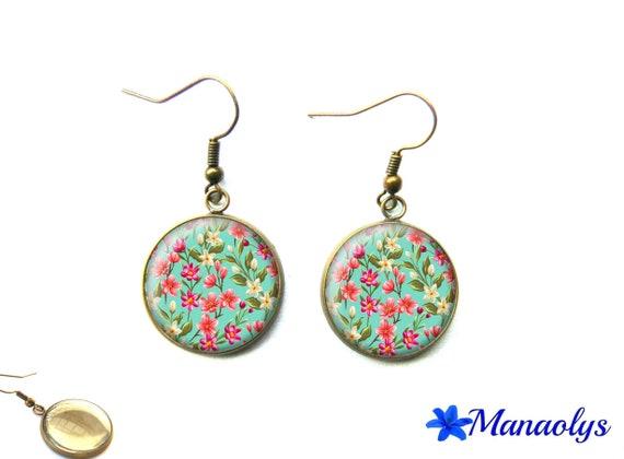 Bronze vintage 2400 multicolored flower glass cabochon earrings