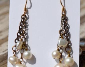 fatdog Earrings - E24 White Freshwater Pearls and Brass Chain