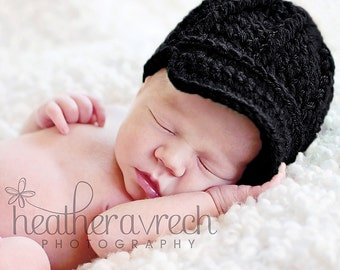 Black Newsboy Beanie, Baby Hat with Brim, OVERSTOCK SALE, SIZE 1-3 months