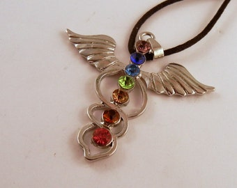 Chakra point Medical  Necklace: Natural Crystal Pendant, Stone Jewelry