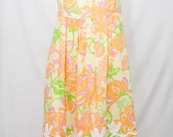 Lilly Pulitzer Floral Printed With Braided Trim Summer Shift Dress With Adjustable Straps