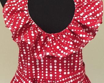 Red and White Polka Dot Ruffled Sexy  Flirty Apron