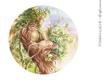 Miroir de poche thème féerique - Ents amants - Illustration Delphine GACHE