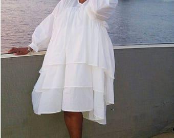 Maxi Dress Women, White Dress, Summer Cotton Dress, Flounces Dress, Loose Dress, Plus Size Clothes, Long Sleeve Dress - DR0182CT
