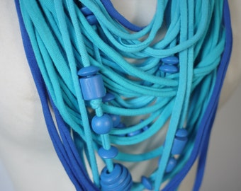 Upcycled t-shirt scarf: Turquoise and blue with wooden beads [419]