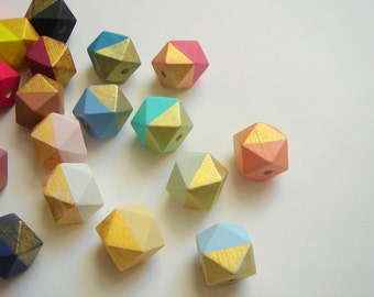 Hexagon Beads 20mm,  Hand painted Wood  Beads,  Geometric Natural Wood Beads,Choose your color, Do it Yourself Geometric necklace