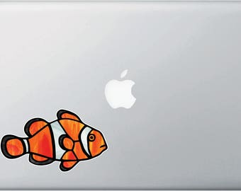 CLR:MB - Tropical Fish - Clownfish - Clown Fish - Stained Glass Style Vinyl Laptop Decal - © 2016 YYDCo. (Size Choices)