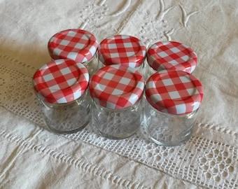 Set of 6 miniature jars of jam