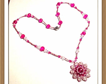 Handmade MWL right angle weave and peyote stiched pink and crystal necklace. 0291