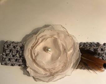 Ivory on gray baby headband size 3-6 mth