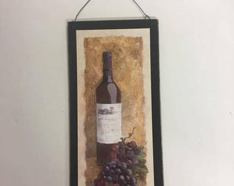 Merlot Botte Of Red Wine Tuscan Kitchen Grapes Wooden Wall Art Sign