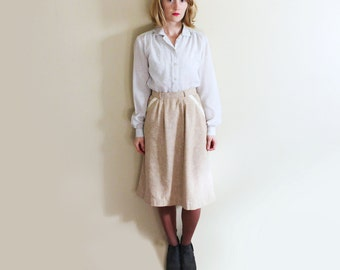 vintage skirt pencil 70s taupe beige tan linen 1970's high waisted womens clothing size small s