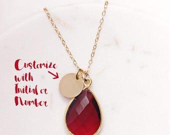 Personalized January Birthstone Custom Necklace - Garnet drop pendant - Gold initial necklace - Garnet pendant - Elegant necklace