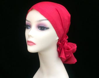 Beautiful Chemo Alopecia Head Scarf,~100% Silk~Light Weight Red~No Tying Required~Adjustable Toggle~Wear it Long or Short#259