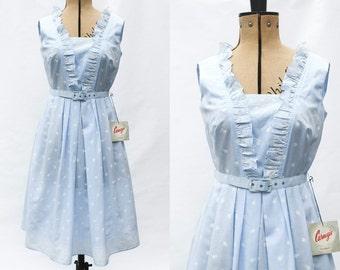 Carnegie Dress • Deadstock 1960s Dress • Pastel Blue 60s Summer Dresses • Frilly Floral Dress • Vintage Day Dress • 60s 50s Housewife. S/M