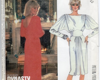 Linda Evans Dynasty Dress Long Tapered Sleeves Gathered Caps Bias Cut Back Drape Pleated At Shoulders Size 12 Sewing Pattern McCall's 2275