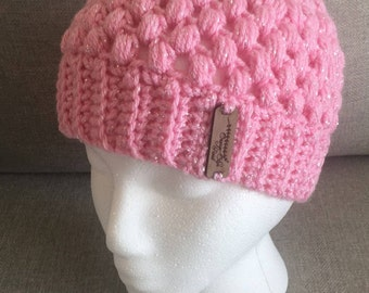 Children's Puff Stitch Messy Bun Beanie