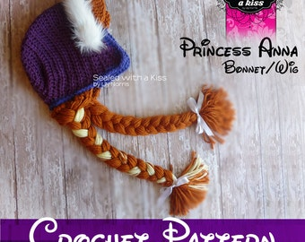 CROCHET PATTERN, Only Bonnet pattern, Princess Anna hat, Anna Hat crochet, Anna inspired costume. (Instant Download)