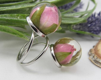 Resin flower ring, floral pink ring, double nature ring, Rose balls, resin jewelry, silver ring, real flower ring, dry flowers, gift for her