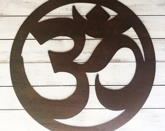 """12"""" Large RUSTED Om Sign, Symbol - Make your own Sign, Gift, Art!"""
