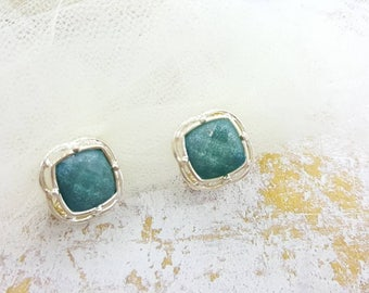 Napier Sage Blue and Silver clip earrings  Square Modern Lucite mint condition