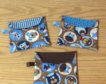 Reusable sandwich bags, puppies, blue, brown, circles, dots, plaid, swirls,  package of 3, Eco friendly, machine washable, water resistant