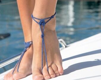Blue Barefoot Sandals | Footless Sandals | Girlfriend Gift Idea | Foot Jewelry | Beach Accessories | Barefoot Jewelry | Beach Jewelry