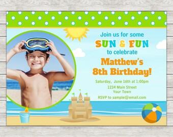 Beach Birthday Invitation, Beach Party Invitation, Beach Boy - Digital File (Printing Services Available)
