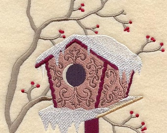 Snowy Bird House Embroidered Flour Sack Hand/Dish Towel