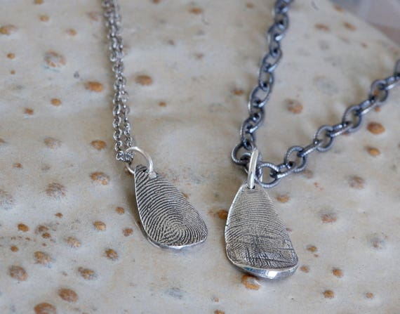 His and Her Fingerprint Jewelry - Firefighter and Spouse Fingerprint Necklace - Fingerprint Jewelry