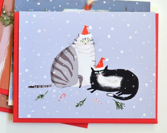 Christmas Cat Card - Cats in Santa Hats - Holiday Cheer- Funny Christmas Card for Cat Lovers - Christmas Cat Cards