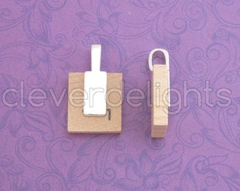 25 Tag Bails - 26x8mm - Shiny Silver Color - Glue On Paddle Bails - For Scrabble and Glass Pendants - 1 x 5/16 inch 26mm x 8mm