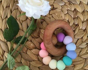 Silicone and Wood Teething Ring / Teething Toy / Teether 'Nova'