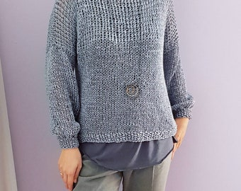 Handmade loose knitted eco friendly spring / summer sweater. Hand knitted sweater made of 100% lyocell (tencel) yarn. Many colors available.