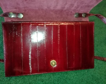Ruby Red Vintage Eel Skin Purse, Mother's Day