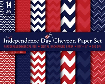 8.5 x 11 Independence Day Patriotic Chevron Digital Paper, 8.5 x 11 print, 4th of july, independence day, memorial day, red blue white