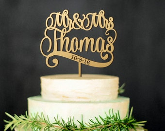Mr & Mrs Wedding Cake Topper with Last Name and wedding date, wooden cake topper, personalized cake toppers, custom wedding, rustic wedding