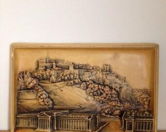 Vintage Osborne Ivorex Plaque Edinburgh Castle and National Gallery