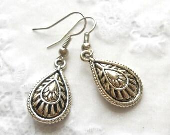 silver teardrop earrings boho teardrop earrings bohemian earrings gypsy earrings boho jewelry boho earrings bohemian drop charms