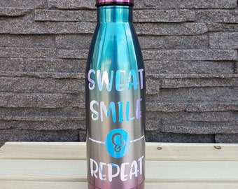 Sweat Smile & Repeat Water Bottle, Stainless Steel, Motivational Quote, Workout, Gift Idea