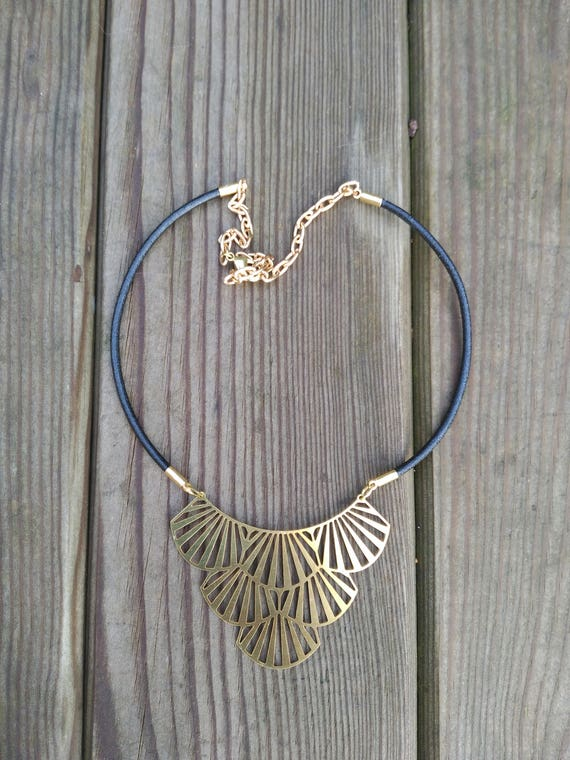Black LEATHER NECKLACE with gold plated FILIGREE pendant