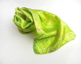 "Lime green scarf in paisley print 35"" long rectangle vintage from 1960s // print scarf // rolled edges // mod style"