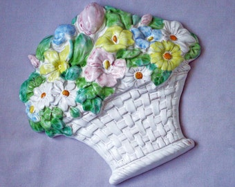 Hand Painted Basket of Flowers Wall Hanging Terra Cotta from Italy