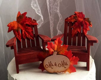 Fall Wedding Cake Topper, Adirondack Chair, Wedding, Decoration, Cake Topper, Autumn, Thanksgiving, Country, Rustic, Woodland, Fall Leaves