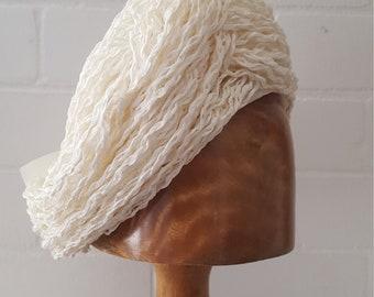 Vintage 1950s 1960s ' Moray 'White Raffia Straw Turban Hat Summer Bow Wedding Bride