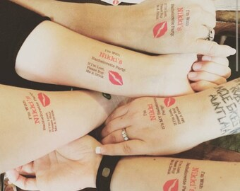 Bachelorette Party Temporary Tattoos - Bachelorette Tattoos - Bachelorette Favor - Bridesmaid Tattoo