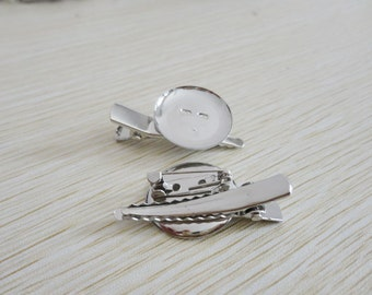 20pcs silver Alligator Clip/Brooch Pin with 25mm glue pad-wholesale--HA4